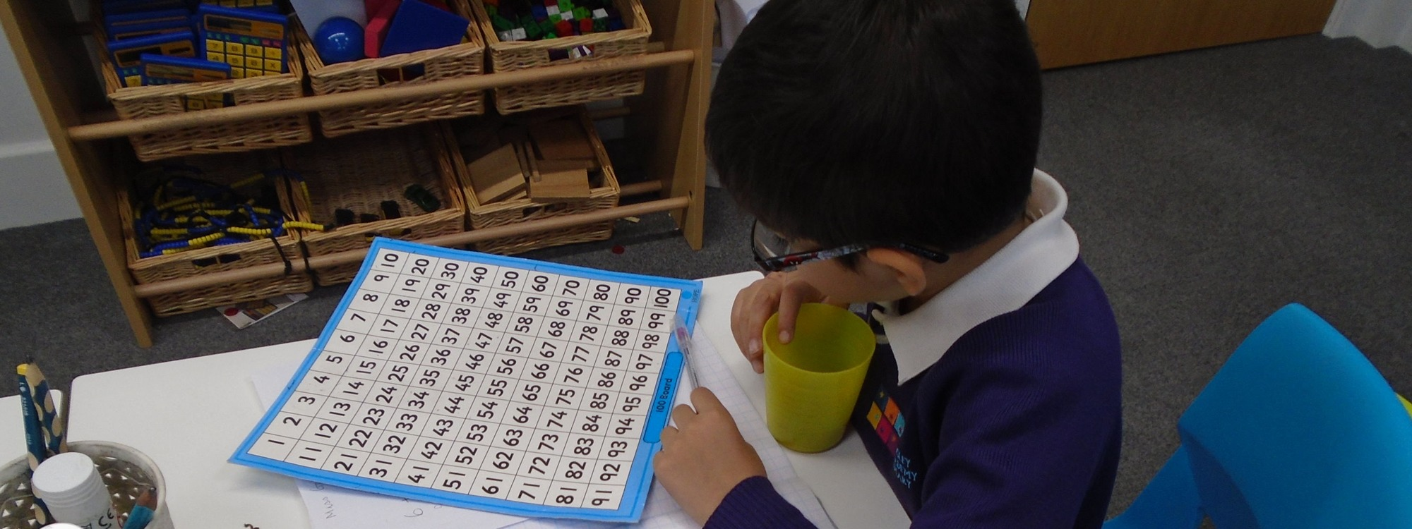 SEND child in class using resources to support learning